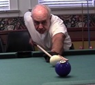 Man playing pool at the Senior Center